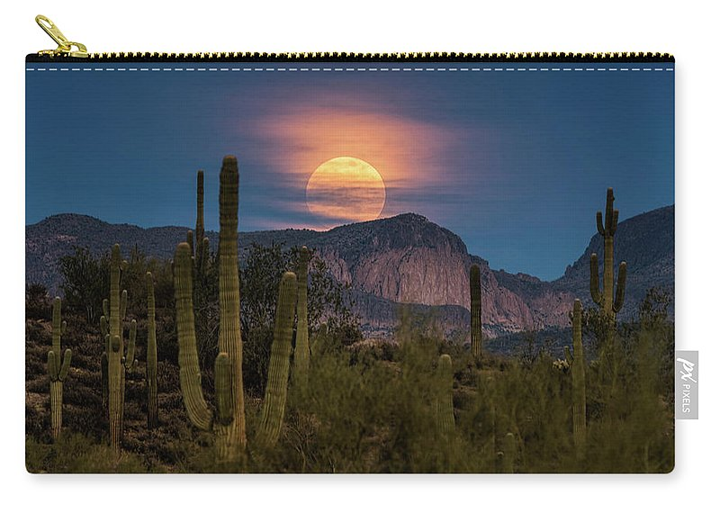 Super Moon 2018 Carry-all Pouch featuring the photograph Super Moon 2018 - Wolf Moon by Saija Lehtonen