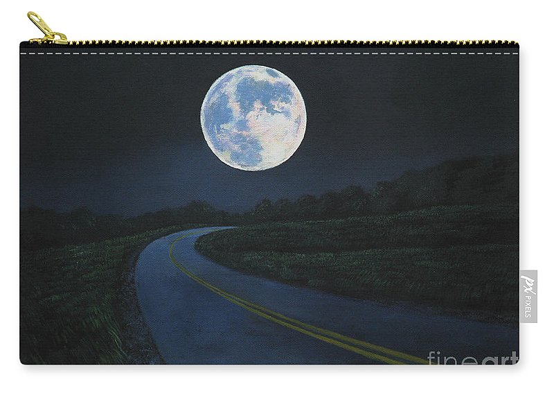 Super Moon Carry-all Pouch featuring the painting Super Moon at the end of the road by Christopher Shellhammer