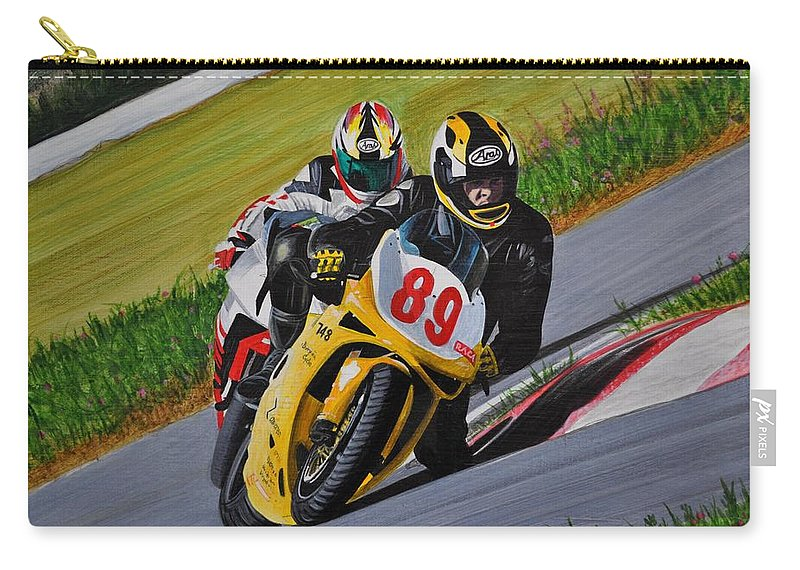 Motorcycle Carry-all Pouch featuring the painting Superbikes by Kenneth M Kirsch