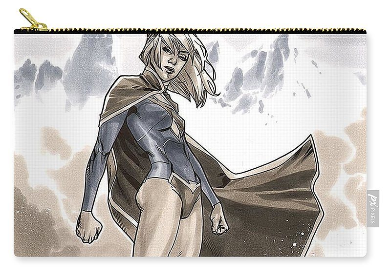 Supergirl Carry-all Pouch featuring the digital art Supergirl by Dorothy Binder