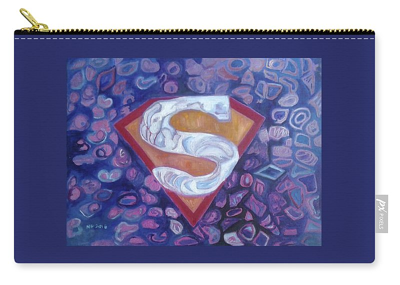 Carry-all Pouch featuring the painting Supergirl Logo by Nima Honarbakht