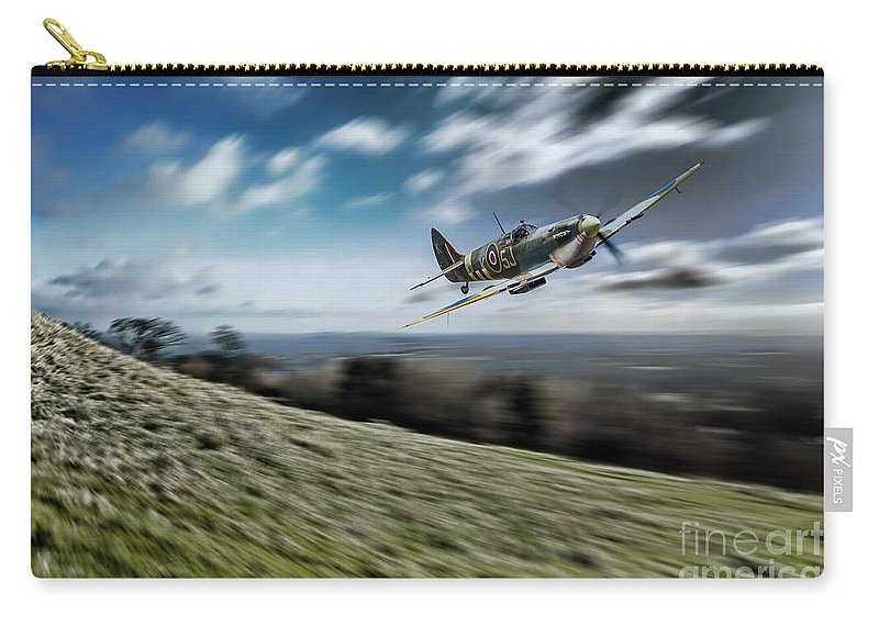 Supermarine Carry-all Pouch featuring the digital art Supermarine Spitfire Fly Past by J Biggadike