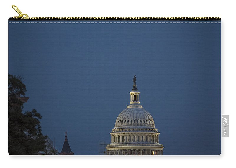 Tourism Carry-all Pouch featuring the photograph Supermoon Over Washington, Dc by Science Source