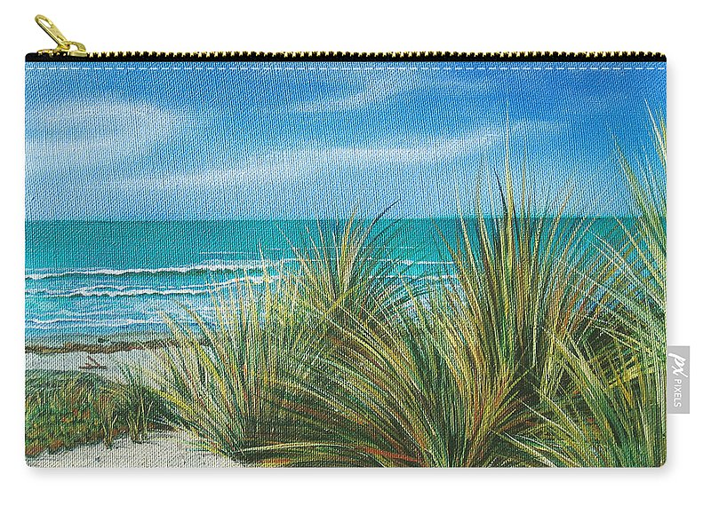Sea Grass Carry-all Pouch featuring the painting Surf Beach by Angie Hamlin