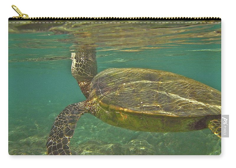 Big Carry-all Pouch featuring the photograph Surfacing Seaturtle by Michael Peychich