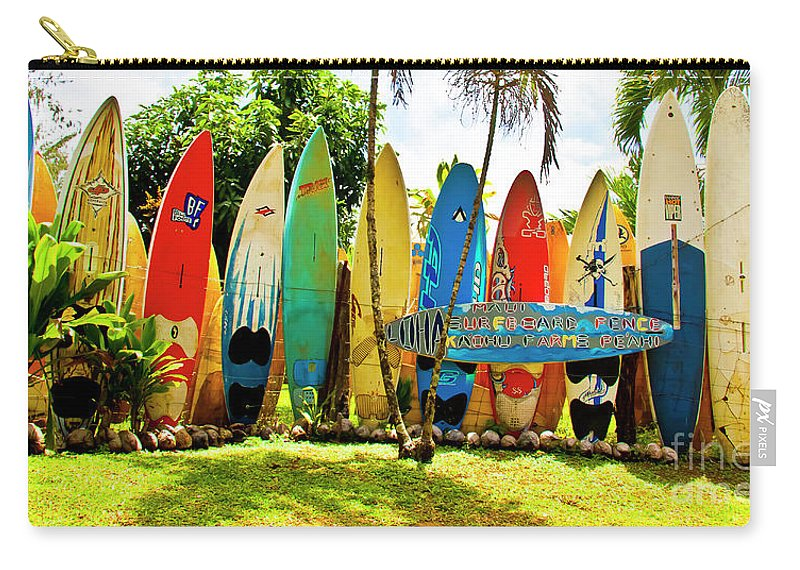 Surfboard Carry-all Pouch featuring the photograph Surfboard Fence II-the Amazing Race by Jim Cazel