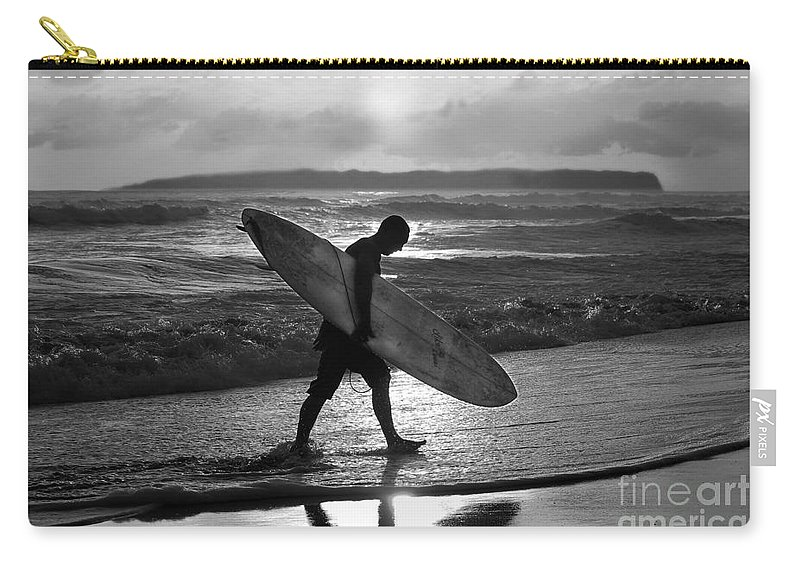 Surfer Carry-all Pouch featuring the photograph Surfer Heading Home by Catherine Sherman