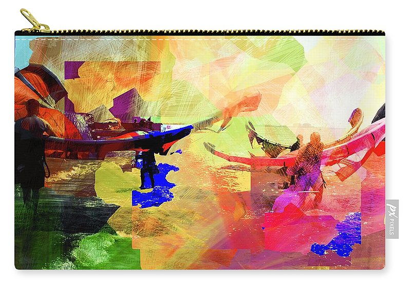 Seaside Carry-all Pouch featuring the digital art Surfers by Agnes V