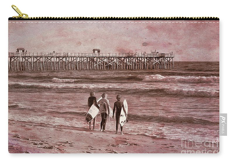 Florida Carry-all Pouch featuring the photograph Surfers Three by Deborah Benoit
