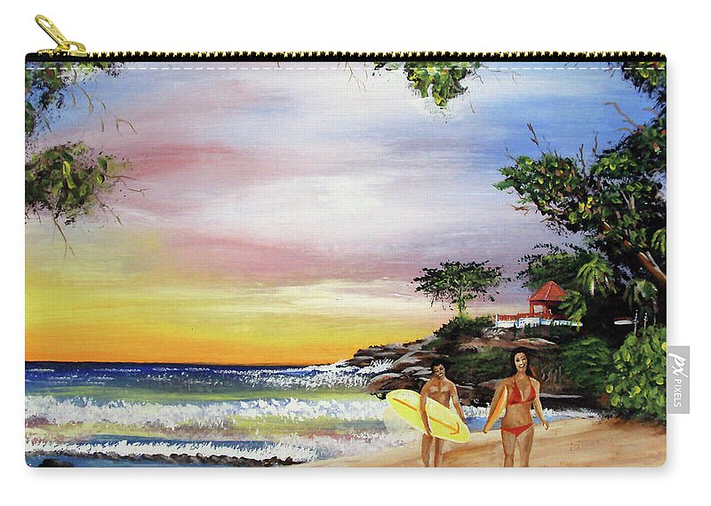 Surfing Carry-all Pouch featuring the painting Surfing In Rincon by Luis F Rodriguez