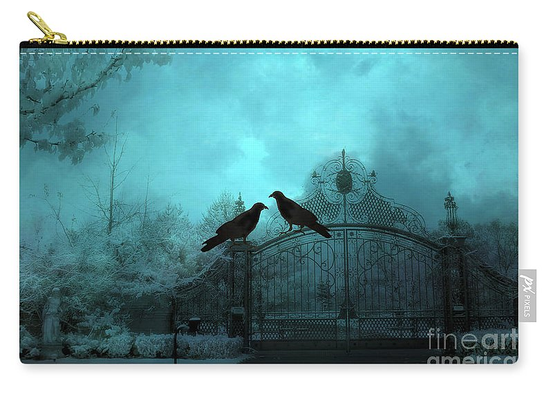 Ravens Carry-all Pouch featuring the photograph Surreal Gothic Ravens Fantasy Art Gate Scene by Kathy Fornal