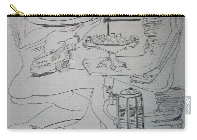 Carry-all Pouch featuring the drawing Surrealist Man And Woman by Jude Darrien
