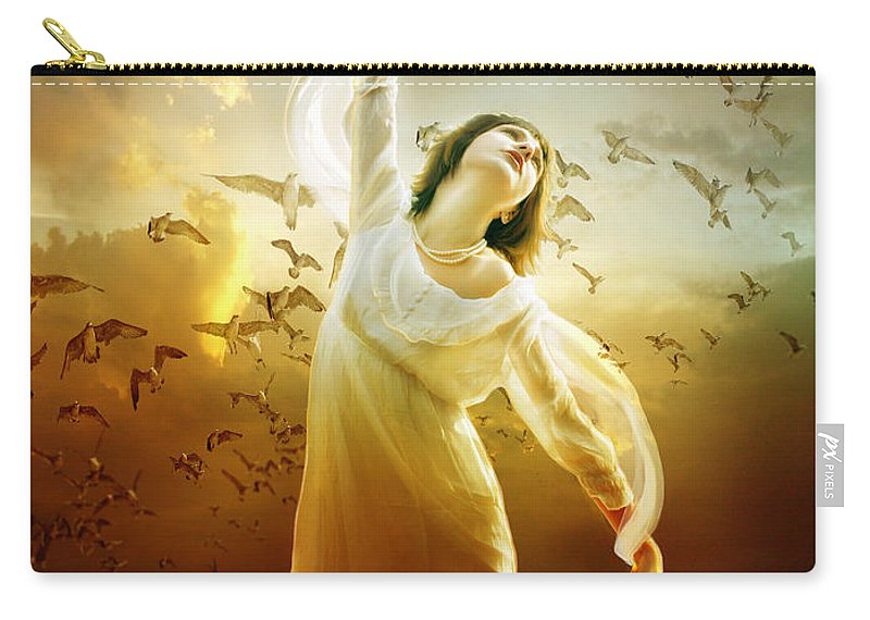 Woman Carry-all Pouch featuring the digital art Surrender by Karen Koski