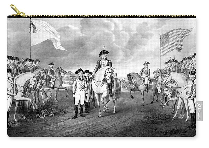George Washington Carry-all Pouch featuring the mixed media Surrender Of Lord Cornwallis At Yorktown by War Is Hell Store