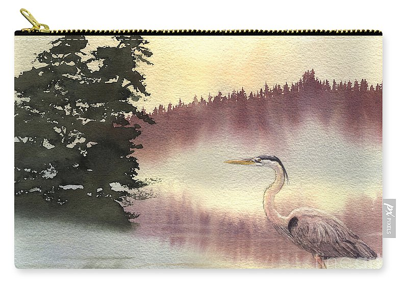 Heron Carry-all Pouch featuring the painting Surveyor Of The Morning by Lynn Quinn