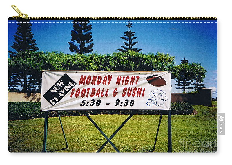 Kauai Carry-all Pouch featuring the photograph Sushi And Football In Hawaii by Tommy Anderson