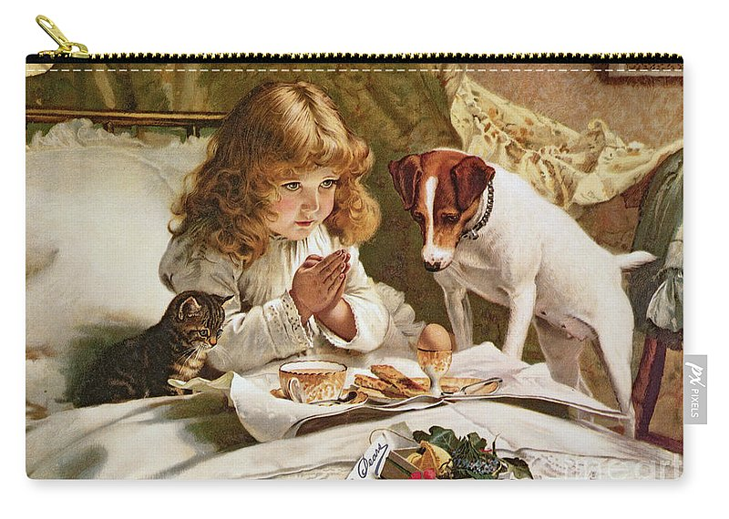 Suspense Carry-all Pouch featuring the painting Suspense by Charles Burton Barber
