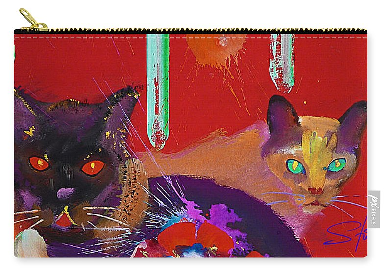 Cat Carry-all Pouch featuring the painting Suspicious Minds by Charles Stuart