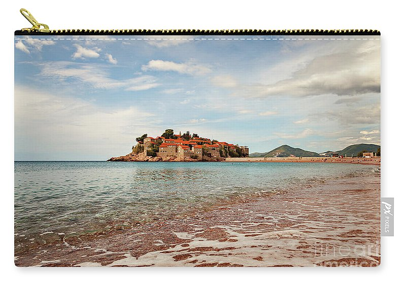 Sveti Stefan Carry-all Pouch featuring the photograph Sveti Stefan Beach by Sophie McAulay