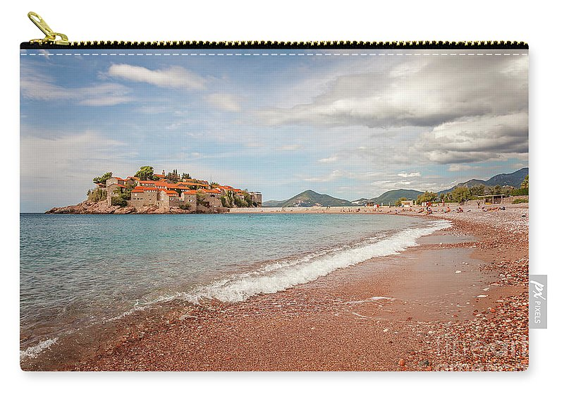 Sveti Stefan Carry-all Pouch featuring the photograph Sveti Stefan Island Iconic Landmark by Sophie McAulay