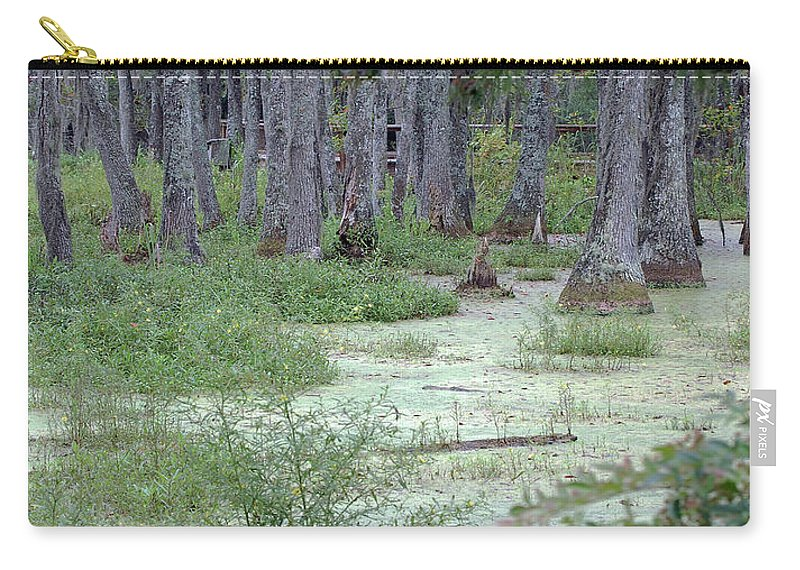 Swamp Carry-all Pouch featuring the digital art Swamp Garden At Magnolia Plantation And Gardens by DigiArt Diaries by Vicky B Fuller