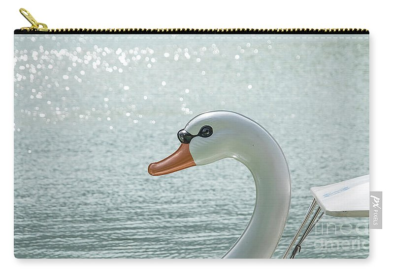 Boat Carry-all Pouch featuring the photograph Swan Boat In The Lake by Que Siam