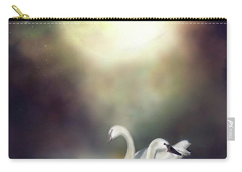 Swan Carry-all Pouch featuring the mixed media Swan Dreams by Carol Cavalaris