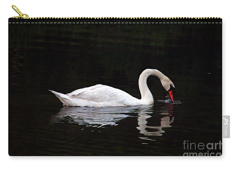 Clay Carry-all Pouch featuring the photograph Swan Drinking by Clayton Bruster
