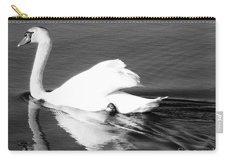 Swan Carry-all Pouch featuring the painting Swan In Motion On A Pond by Eric Schiabor