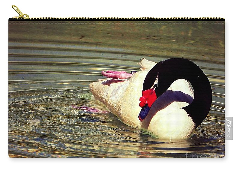 Swan Carry-all Pouch featuring the photograph Swan by Karen Fones