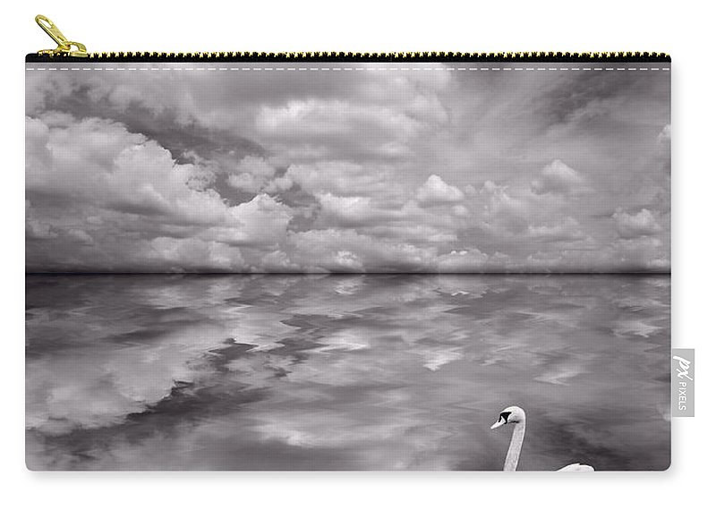 Bird Carry-all Pouch featuring the photograph Swan Lake Explorations B W by Steve Gadomski