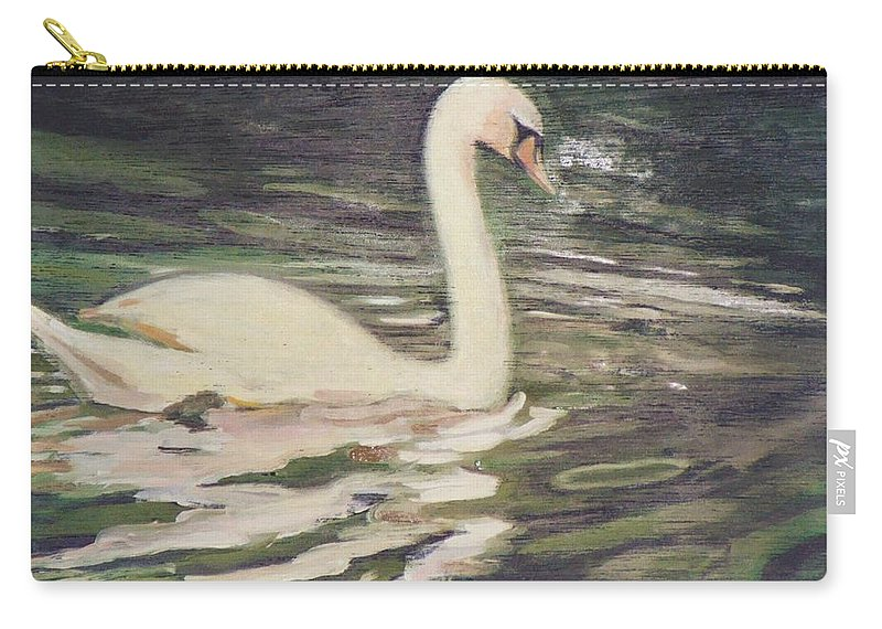 Swan Carry-all Pouch featuring the painting Swan Lake by Suzn Art Memorial
