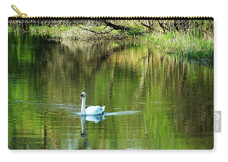 Irish Carry-all Pouch featuring the photograph Swan On The Cong River Cong Ireland by Teresa Mucha