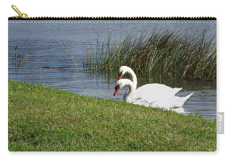Swan Carry-all Pouch featuring the photograph Swan Pair As Photographed by Rosalie Scanlon