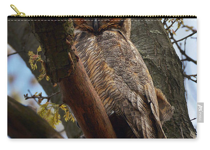 Carry-all Pouch featuring the photograph Swan Point Great Horned Owl by Garrett Sheehan