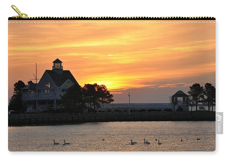 Swan Carry-all Pouch featuring the photograph Swans At Sunrise by Bill Cannon