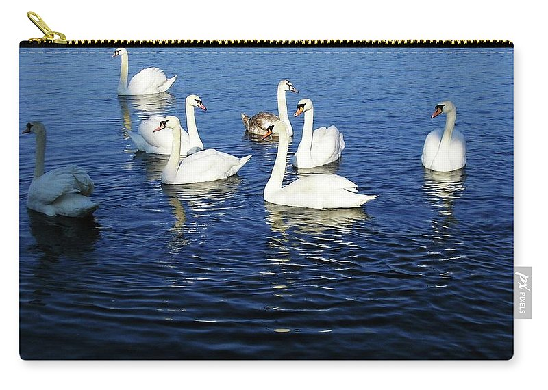Seascape Carry-all Pouch featuring the photograph Swans Sligo Ireland by Louise Macarthur Art and Photography