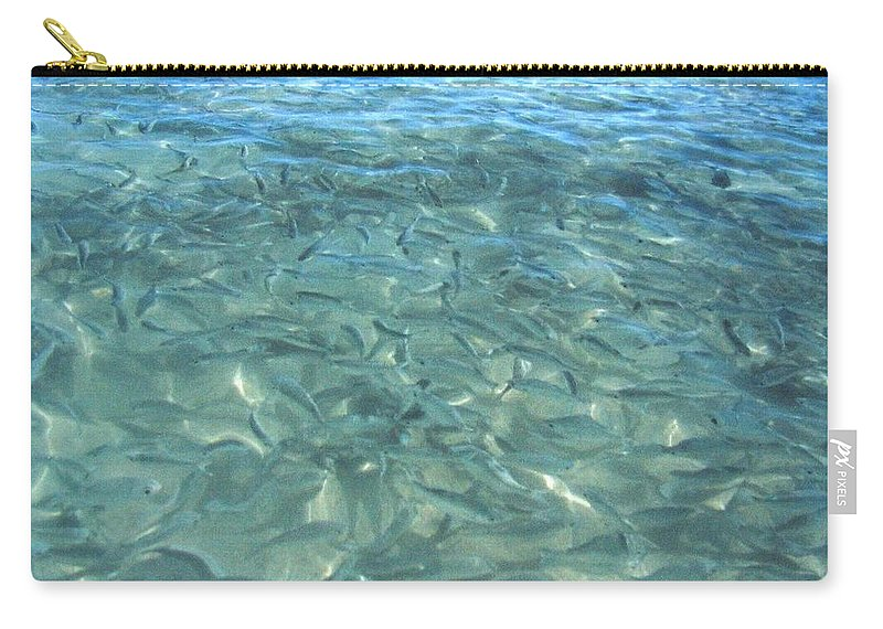 1986 Carry-all Pouch featuring the photograph Swarming Fish by Will Borden