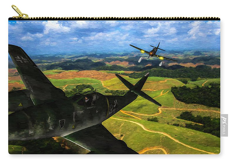 Messerschmitt Me-262 Swallow Carry-all Pouch featuring the digital art Swatting Down A Swallow - Oil by Tommy Anderson