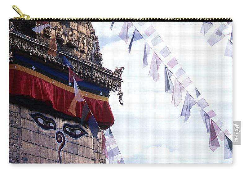 Swayambhunath Stupa Carry-all Pouch featuring the photograph Swayambhunath II by Patrick Klauss