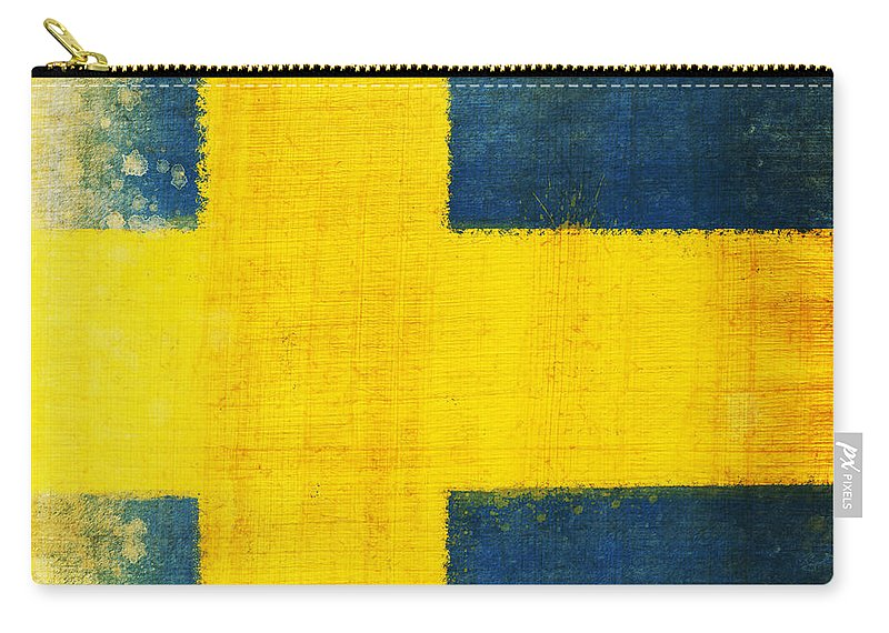Sweden Carry-all Pouch featuring the painting Swedish Flag by Setsiri Silapasuwanchai