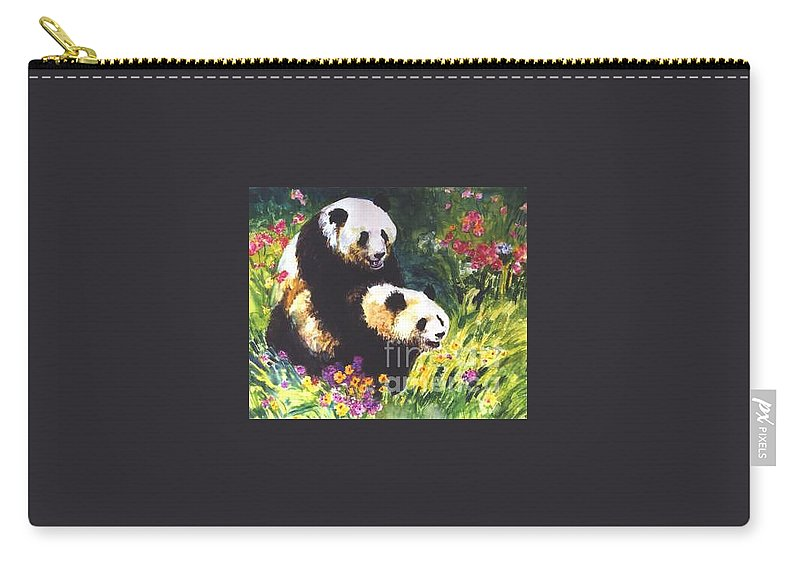 Panda Carry-all Pouch featuring the painting Sweet As Honey by Guanyu Shi