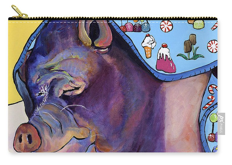 Farm Animal Carry-all Pouch featuring the painting Sweet Dreams by Pat Saunders-White