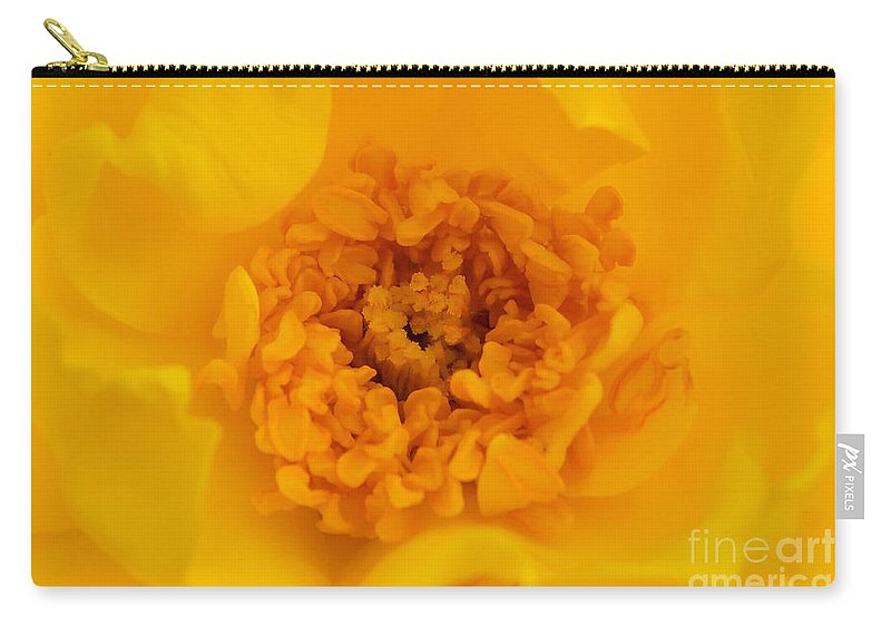Yellow Carry-all Pouch featuring the photograph Sweet Heart Of Yellow Rose by Olga Hamilton