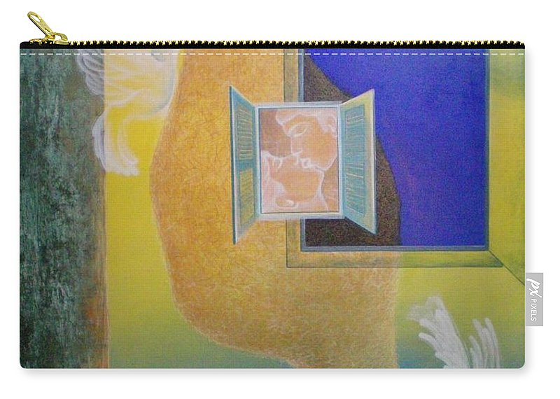 Romantic Carry-all Pouch featuring the painting Sweet Home by Raju Bose