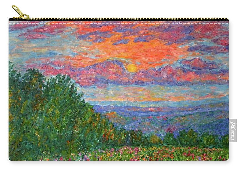 Landscapes For Sale Carry-all Pouch featuring the painting Sweet Pea Morning on the Blue Ridge by Kendall Kessler