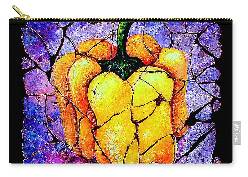 Sweet Pepper Fresco Antique Carry-all Pouch featuring the painting Sweet Pepper by OLena Art Lena Owens