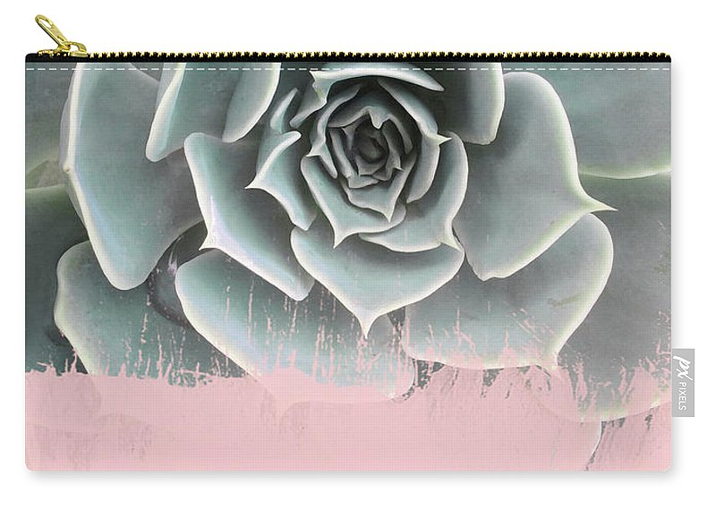 Pink Carry-all Pouch featuring the mixed media Sweet Pink Paint On Succulent by Emanuela Carratoni