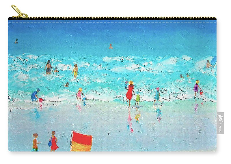 Beach Carry-all Pouch featuring the painting Swim Day by Jan Matson