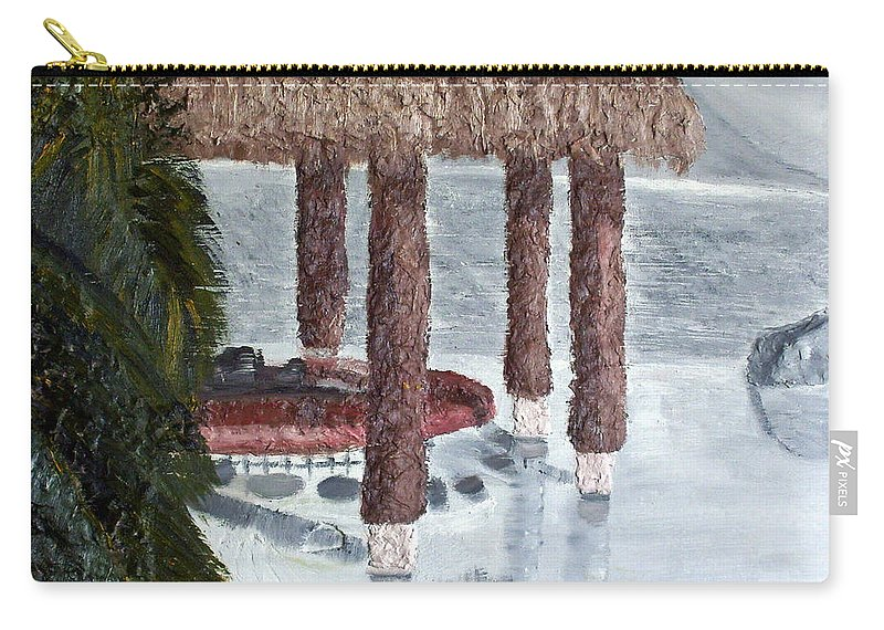 Still Life Paintings Carry-all Pouch featuring the painting Swim To A Beach Bar Cool Huh by Leslye Miller